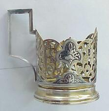"RUSSIAN SOVIET 875"" SILVER ENAMEL KUBACHI TEA GLASS HOLDER GOLD ORDER MEDAL USSR"