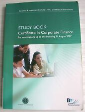 Study Book Certificate Corporate Finance 2006 Level 3 Securities Investment Inst