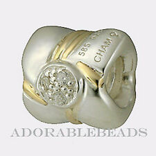 Authentic Chamilia Silver & 14k Gold Bow Clear CZ Bead  KC-53  *RETIRED*