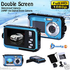 Double Screen Waterproof Camera 24MP 16x Digital Zoom Dive Camera