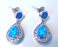 FABULOUS BLUE FIRE OPAL EARRINGS   20 X 9 mm