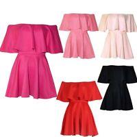 Ladies Celeb Inspired Off Shoulder Peplum Frill Flared Swing Skater Short Dress