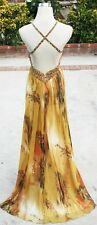 NWT FAVIANA COUTURE $440 Gold /Mult Prom Evening Gown 6