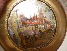 Vintage 1970's Wall Plaque - Poland - Thin Brass Or Plated - Scenic Street Scene