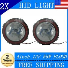 2X4inch 55W HID Xenon Driving Lights Flood Beam 4X4 Round Offroad Mount Jeep 12V
