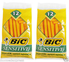 2 PACK BIC Single Blade Sensitive Disposable Shaver 12ct 070330708419