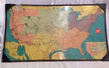 Vintage 1953 Missouri Pacific Rail Road Train And Rout Line Wall Map (RARE)