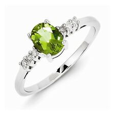 STERLING SILVER NATURAL GENUINE 0.8CT GREEN PERIDOT & DIAMOND RING - SIZE 6