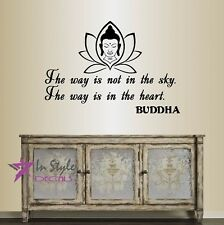 Vinyl Decal Way is in the Heart Buddha Quote Wisdom Yoga Room Decor Sticker 410