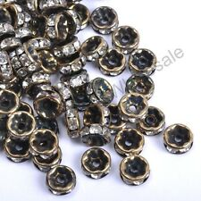 100Pcs GOLD & SILVER & BRONZE & BLACK, Czech Crystal Rhinestone Rondelle Spacer
