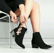 PD Black Suede Lace Up Side Pointy Toe Ankle Boots - Size 3/4uk Blogge Fave