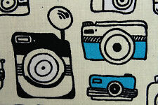 100% Viscose Vintage Cameras Print Dress Fabric Material (Cream/Teal/Black)