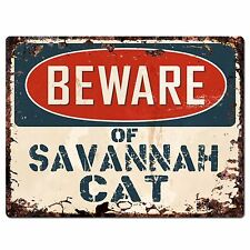 PP1552 Beware of SAVANNAH CAT Plate Rustic Chic Sign Home Store Decor Gift