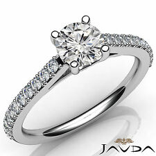 Double Prong Set Round Diamond Engagement Ring GIA E VS1 18k White Gold 1.02Ct