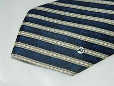 Versace Classic V2 Navy Blue Beige Diagonal Striped 100% Silk Tie