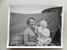 Vintage 50s B/W Photograph. Lady with Toddler/ Baby. Camping/ Tent/ May 1954