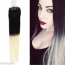 18''Dye Dip Ombre T Color Micro Rings Loop Bead Remy Human Hair Extensions 1/613