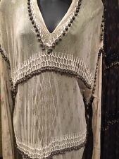 Vintage White Dress Made of Assuit Fabric And Antique Old Balls  Made In Egypt