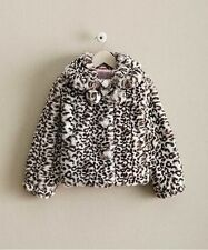 NWT GIRLS BOUTIQUE 6 CHASING FIREFLIES BLACK/WHITE FAUX FUR POM POM COAT JACKET