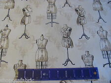 VINTAGE COUTURIER OLD DRESS FORMS SEAMSTRESS SEWING on COTTON FABRIC By The YARD