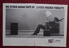 1989 Print Ad Maxell FIDELITY Cassette Tape ~ Man in a Chair BLOWN AWAY 2-PAGE