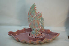 VINTAGE ROYAL HAEGER ART POTTERY ANGEL FISH FLOWER FROG BOWL #357 LARGE PINK