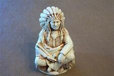 INDIAN CHIEF Pipe Figurine Jewelry Box kingdom harmony alabaster retired Castagn