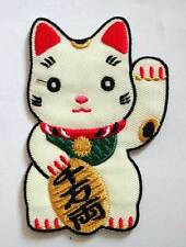 MANEKI-NEKO WELCOMING LUCKY FORTUNE CAT Embroidered Iron on Patch Free Postage