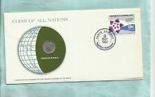 #D55.  STAMPED  ENVELOPE & COIN - DOMINICAN REPUBLIC