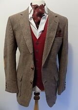 VINTAGE mens GARRISON PARK BROWN CHECK TWEED HACKING SPORTS JACKET BLAZER 44""