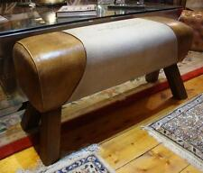 Genuine Leather & Canvas Bench Pommel Horse Style - Paris Print - Length 88cm