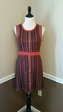 NWT Modcloth Fall Dress M Orange & Brown Faux Leather Detail C. Luce Retro 70's