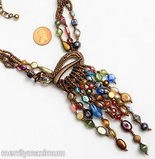 Chico's Signed Necklace Bronze Copper Tone Multi Strands Dangles Beads Red Blue