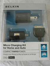 NIB Belkin Micro Charging Kit for Home and Auto for iPhone & iPod