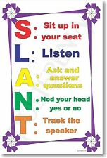 S.L.A.N.T 2 - NEW Classroom Motivational Poster