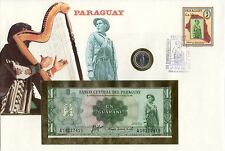 superbe enveloppe PARAGUAY billet de banque 1 GUARANI UNC NEUF + TIMBRES+PIECE