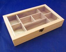 scatola legno decoupage 8 scomparti porta perle the te bustine espositore charm