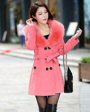Women's Winter Coat Long Wool Jacket Fur Collar Slim Outwear Ladies Trench coat