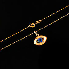 """18K Yellow Gold Filled Oval Evil Eyes Pendant Chain 18"""" 45CM Necklace Jewelry"""