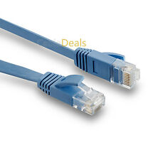 30m FLAT CAT6 ETHERNET LAN PATCH CABLE LOW PROFILE GIGABIT RJ45 BLUE