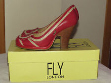 FLY LONDON FLY GIRL 'FLAP' DESIGNER RED LEATHER COURT SHOES UK 4 EU 37 RRP £110