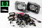6000K HIGH-LO H4 HID+7X6 H6014/H6052/H6054 GREEN LED BLACK PROJECTOR HEADLIGHTS