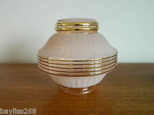 Stunning Art Deco Ceiling Lamp Shade Pink/Gold Frosted with Gilt Trim