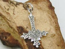 Umgedrehtes Kreuz mit Pentagramm Anhänger 925 Silber klein mit Band