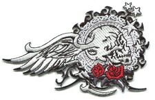 SKULL roses wings stars EMBROIDERED IRON-ON PATCH Free Shipping p3538 tattoo art