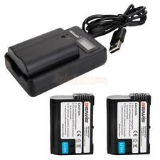 2X EN-EL15 1950mAh Replacement Li-ion Battery + USB Charger for Nikon D7000