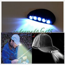 New 1*Clip-On 5 LED Head Lights Lamp Cap Hat Camping Torch w/Clip Hand Free IN