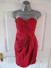 WAREHOUSE SPOTLIGHT Red Bandeau Corset Ruche Front Fitted Bodycon Dress Sz 8