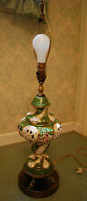 Hand Painted Cherubs CAPODIMONTE ITALY Ornate Porcelain Table Lamp Dolphin Base