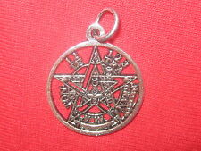 23MM SILVER PEWTER WICCAN TETRAGRAMMATON PENTAGRAM STAR PENDANT CHARM NECKLACE